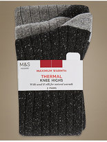 M&S Collection 2 Pair Pack Textured Thermal Knee High Socks