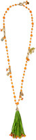 Rosantica Aloha Gold-plated, Raffia And Quartz Necklace - Orange