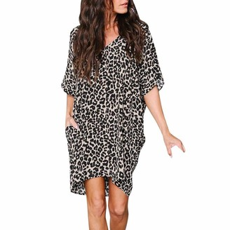 Zerototens Women Dress Zerototens Women Oversized Dress Short Sleeve Tunic Dress Ladies Plus Size V Neck Leopard Printed Shirt Dress Baggy Pockets Short Jumper Dresses Casual Dresses Brown
