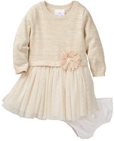 Iris & Ivy Long Sleeve Sweater Dress & Bloomer Set (Baby Girls)