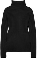 Allude Ribbed Cashmere Turtleneck Sweater - Black