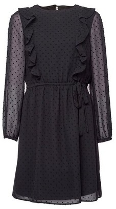 Dorothy Perkins Womens Black Dobby Frill Fit And Flare Dress, Black