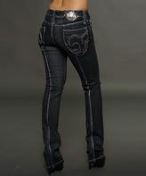 Rebel Spirit Black Contrast-Seam Bootcut Jeans