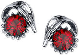 2028 Silver-Tone Crimson Stone Sculptural Stud Earrings