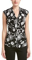 Vince Camuto Women's Short Sleeve Dandelion Silhouette Pleat V-Neck Top