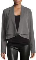 Halston Long-Sleeve Open-Front Jacket, Dark Gravel