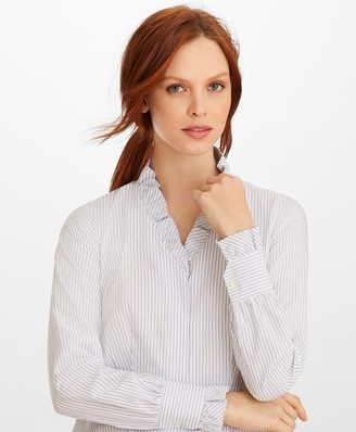 Brooks Brothers Non-Iron Striped Supima Cotton Ruffle-Collar Blouse