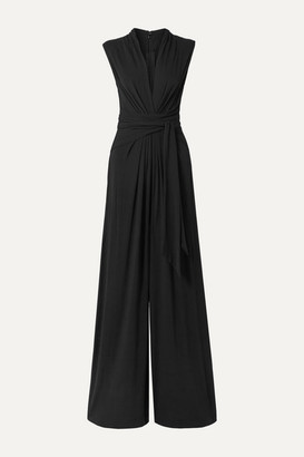 Michael Kors Collection Gathered Stretch-crepe Jumpsuit - Black