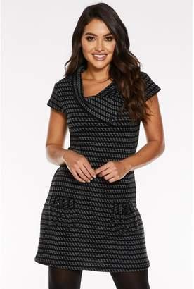 Quiz Black and Grey Cap Sleeve Knit Tunic Dress
