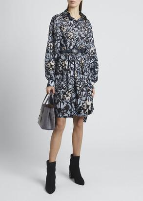 Alaia Floral-Print Button-Down Silk Shirtdress