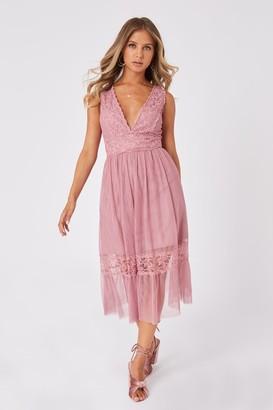 Little Mistress Rosetta Dusty Blush Lace-Trim Midi Dress