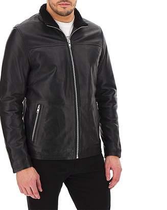 Jacamo Leather Faux Fur Collar Coat Long
