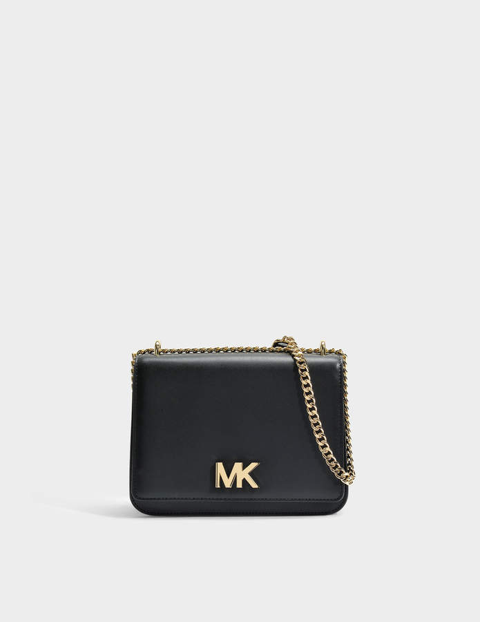 MICHAEL Michael Kors Mott Large Chain Shoulder Bag in Black Liberty Leather