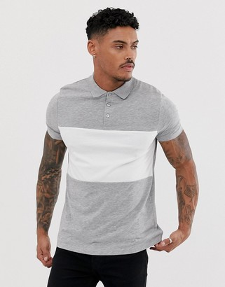 Asos Design DESIGN polo shirt with contrast body panel in grey