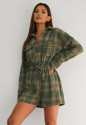Missguided Green Brushed Flannel Drawstring Romper