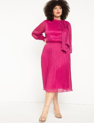 ELOQUII Tie Neck Gathered Waist Midi Dress