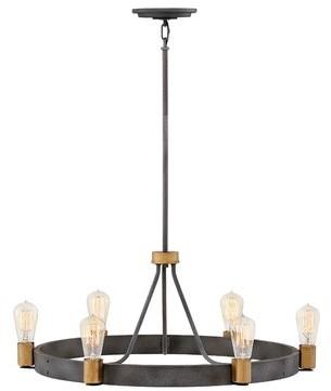 Silas Hinkley Lighting 6-Light Candle Style Wagon Wheel Chandelier Hinkley Lighting