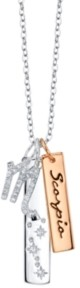 Unwritten Cubic Zirconia Constellation Scorpio Zodiac Pendant Necklace with Two-Tone Silver Plated Charms on Sterling Silver Chain, 18""