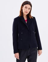 Maison Scotch Wool Peacoat with Zip Pockets