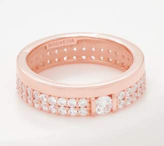 Diamonique Double Row Pave w/ Center Stone Band Ring, Sterling Silver