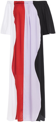 Mara Hoffman Off-the-shoulder Color-block Tencel Maxi Dress