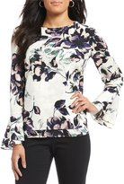 Preston & York Shina Long Bell Sleeve Floral Blouse