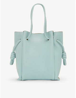Loewe Flamenco knot small leather and suede tote bag