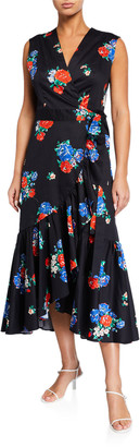 Tory Burch Floral-Print Sleeveless Flounce Wrap Dress