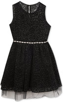 Rare Editions Textured & Flocked Social Dress, Big Girls (7-16)