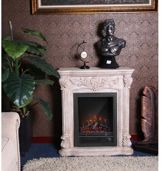 Winsome House PolyStone Roma Electric Fireplace Heater Mantel with Remote