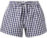 Sleepy Jones The Paloma Gingham Cotton Pajama Shorts - Navy