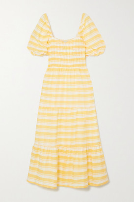 Faithfull The Brand Gianna Shirred Checked Linen Midi Dress - Yellow