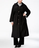 London Fog Plus Size Belted Hooded Maxi Raincoat