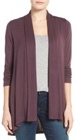 Bobeau Petite Women's Exposed Topstitch Cardigan