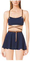 Michael Kors Crepe Belted Swimsuit