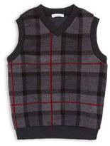 Dolce & Gabbana Little Boy's & Boy's Plaid Cotton Sweater Vest