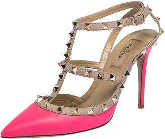 Valentino Neon Pink/Beige Leather Rockstud Pointed Toe Sandals Size 38