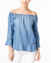 INC International Concepts Off-The-Shoulder Denim Top, Created for Macy's