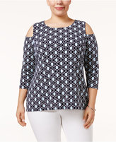 Charter Club Plus Size Geo-Print Cold-Shoulder Top, Only at Macy's