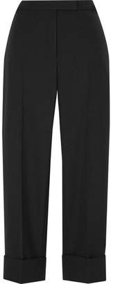 Thom Browne Cropped Grosgrain-trimmed Wool Straight-leg Pants - Black