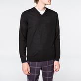 Paul Smith Men's Black V-Neck Merino-Wool Sweater