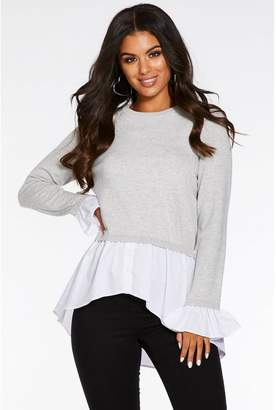 Quiz Grey Knit Round Neck Shirt Jumper