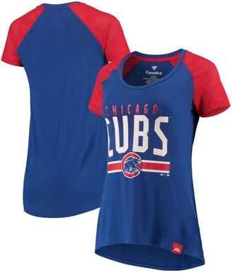 Women's Fanatics Branded Royal/Red Chicago Cubs Shining Victory Blocked Raglan Scoop Neck T-Shirt