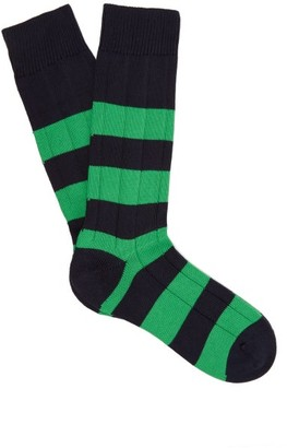 Pantherella Scott Nichol Ely Ribbed-knit Socks - Navy