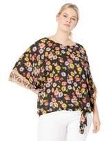 "Democracy Women's Plus Size 3/4"" Kimono Sleeve Printed Top"
