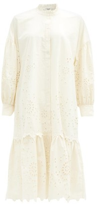 Sea Fern Broderie-anglaise Cotton-poplin Shirt Dress - Cream