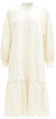 Sea Fern Broderie-anglaise Cotton-poplin Shirt Dress - Cream