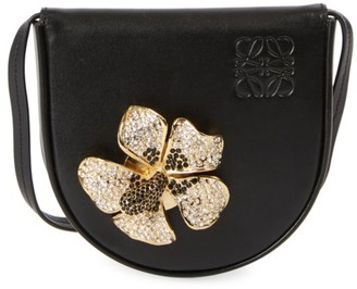 Loewe Small Heel Crystal-Embellished Floral Leather Saddle Bag