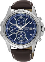 Seiko Mens Solar Chronograph Brown Leather Strap Watch SSC455