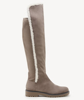 Sole Society Women's Juno Faux Shearling Suede Stretch Boots Fall Taupe Size 5 From